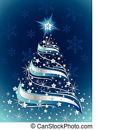 Abstract Christmas tree on a blue background with snowflakes and sparkling stars.