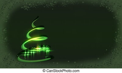 Christmas tree abstract - Green background with border and...