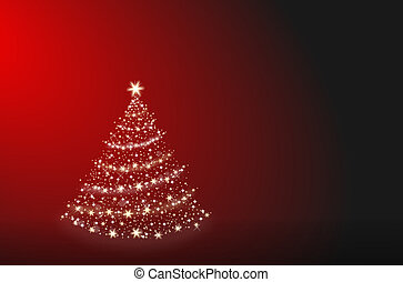 Christmas tree alone on a red background
