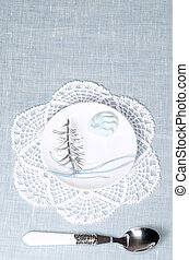 Christmas tree and a little meringue, background for greeting card