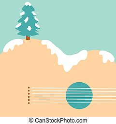 Christmas tree and acoustic guitar landscape background for...