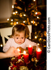Christmas tree and advent wreath