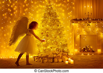 Christmas Tree and Angel Child with Candle, Girl Decorating Holiday Presents