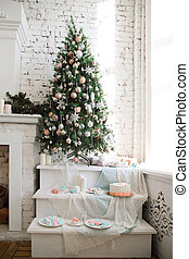 Christmas tree and candy bar. Decorations and treats