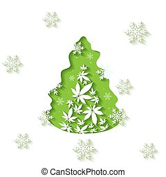 Christmas Tree and Cannabis leaves cut out vector background