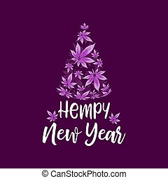 Christmas Tree and Cannabis leaves vector illustration