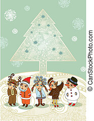 Christmas tree and children in fancy dress . Christmas Card