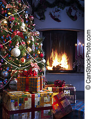 Christmas Tree and Christmas gift boxes in the interior with...