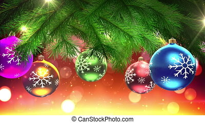 Christmas tree and decorations loop