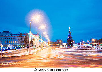 Christmas Tree And Festive Illumination On Lenin Square In...