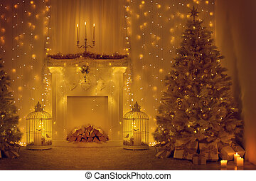 Christmas Tree and Fireplace Decorated Xmas Home Room Holiday Lights Illumination in New Year & Christmas window holiday home lights room decorated by xmas tree ...