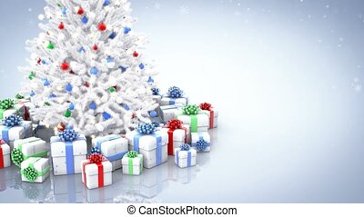 Christmas tree and gift boxes with falling snowflakes