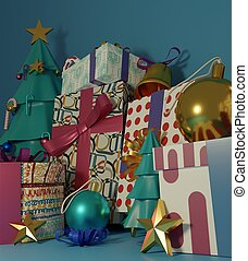 Christmas tree and gift boxes with shiny ball on blue background.