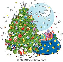 Christmas tree and gifts - The night before Christmas, a...
