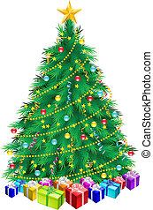 Christmas tree and gifts. Illustration on white background