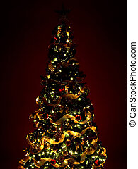Christmas Tree and Gifts. Over dark red background