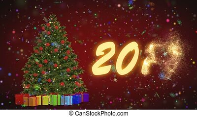 Christmas tree and gifts rotating on a red background. Merry 2019 from snowflakes on a red background. Christmas and New Year seamless looping animation