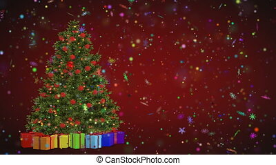 Christmas tree and gifts rotating on a red background. Merry Christmas and Happy New Year from snowflakes on a red background. Christmas and New Year seamless looping animation