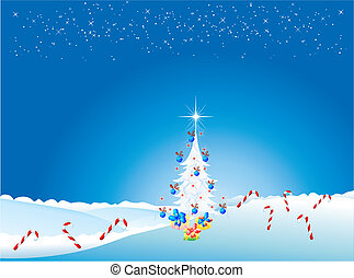 Christmas tree and gifts,