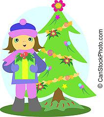 Christmas Tree and Girl with Gift