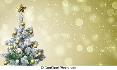 christmas tree and gold glitter snowfall. seamless loop holiday background