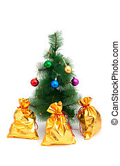 Christmas tree and golden sacks on white