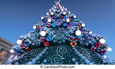 Christmas tree and holiday illumination timelapse. New Year...