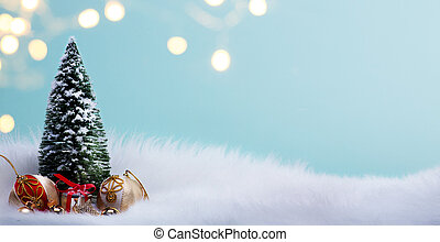 Christmas tree and holidays bauble decoration ornaments