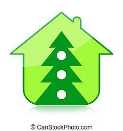 Christmas tree and house