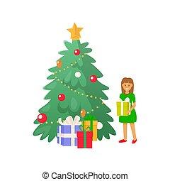 Christmas Tree and Kid Girl Holding Present Gift