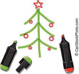 Christmas tree and markers