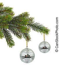 Christmas tree and mirror balls isolated on white background