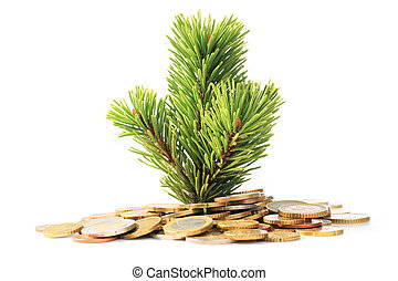 Christmas tree and money. Investment concept.