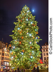 Christmas tree and Moon in Strasbourg - Alsace