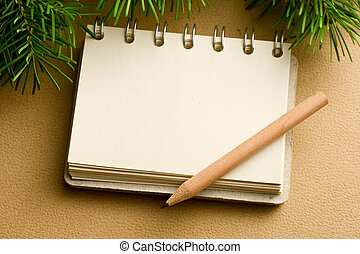 Christmas tree and notepad