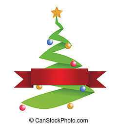 christmas tree and red banner