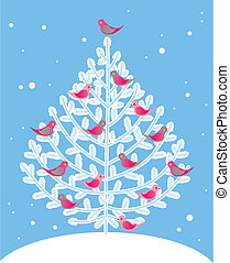 Christmas tree and red birds