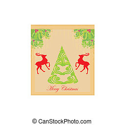 christmas tree and red reindeer - background for your designs