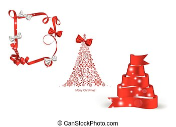 Christmas tree and ribbon. Vector illustration.