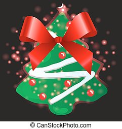 Christmas tree and ribbon with Christmas background and greeting card vector