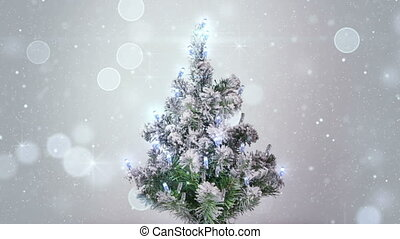 christmas tree and silver sparkles lights loopable