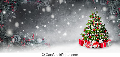Christmas tree and snow background framed by fir branches -...