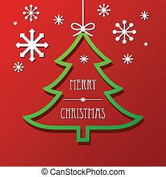 Christmas Tree and Snowflakes Backg