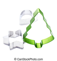 Christmas Tree and Star cookie cutter isolated on white backgrou