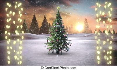 Christmas tree and strings of fairy lights on red background
