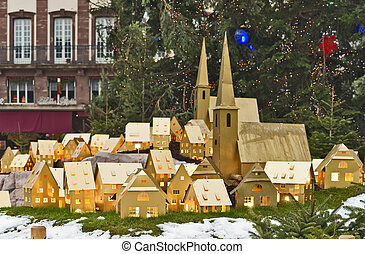 Christmas tree and town maquette in Strasbourg