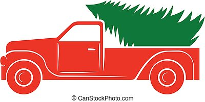 Christmas tree and truck vector icon