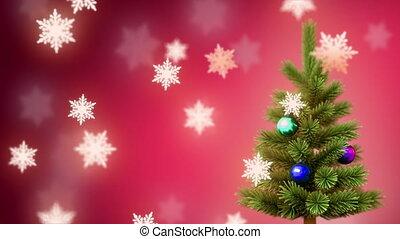 Christmas tree and %u044Bnowflakes