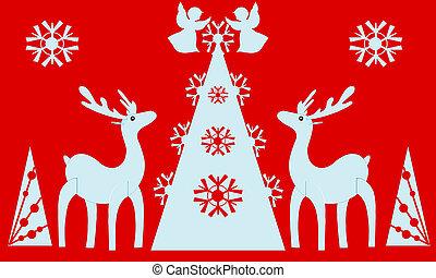 Christmas tree, angels, reindeer. Red background.