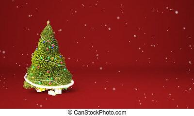 Christmas tree animation copyspace - Winter theme